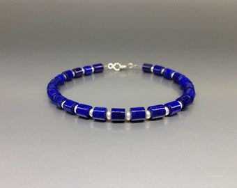 Blue and white Lapis Lazuli and fresh water pearl bracelet with Sterling silver - gift idea - polished tubes - AAA Grade afghan Lapis