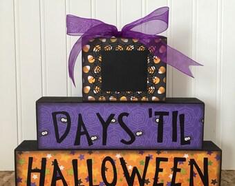 Halloween countdown chalkboard wood blocks
