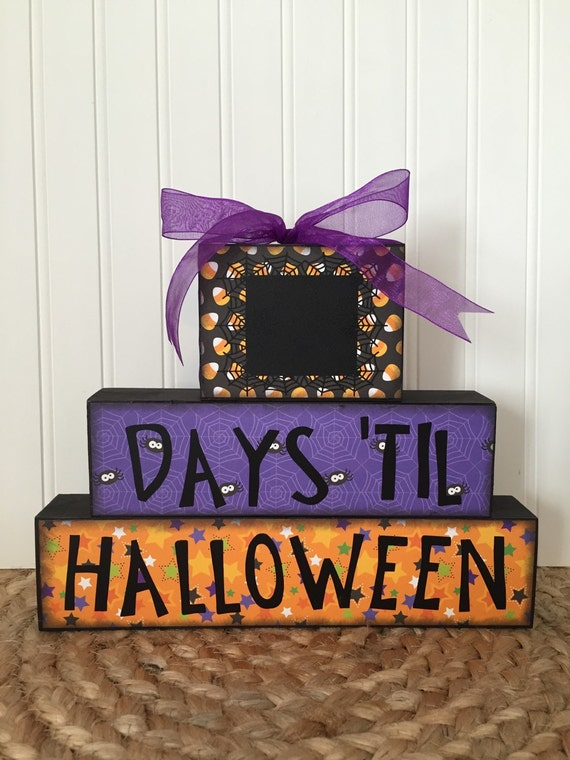 Halloween countdown chalkboard wood blocks days to