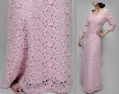 Vintage embroidered floral 1970s maxi dress M 70s Sheer lace long sleeve pink dress women/1960s wedding/60s party dress/Mother bride formal