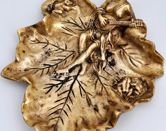 Vintage Brass Leaf Lily Pad Dish /Tray with Goddess / Nymph & Frogs / Unique Home Decor / Quirky Finds / Gifts under 30 / vintage style