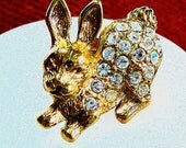 70's Rabbit Pin By Avon Clear Rhinestone Brooch Collectible Vintage Designer Jewelry Gifts for Women Accessories Birthday Gifts Easter Gifts