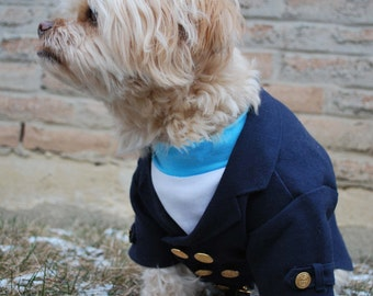 Complete Custom Luxurious Dog Double-Breasted Wool Jacket with Pullover Shirt and Optional Bow Tie for Winter / Weddings / Special events