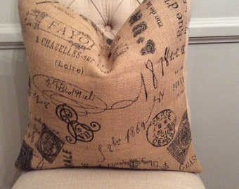 Handmade Decorative Pillow Cover - Burlap - French Themed - Rustic Chic