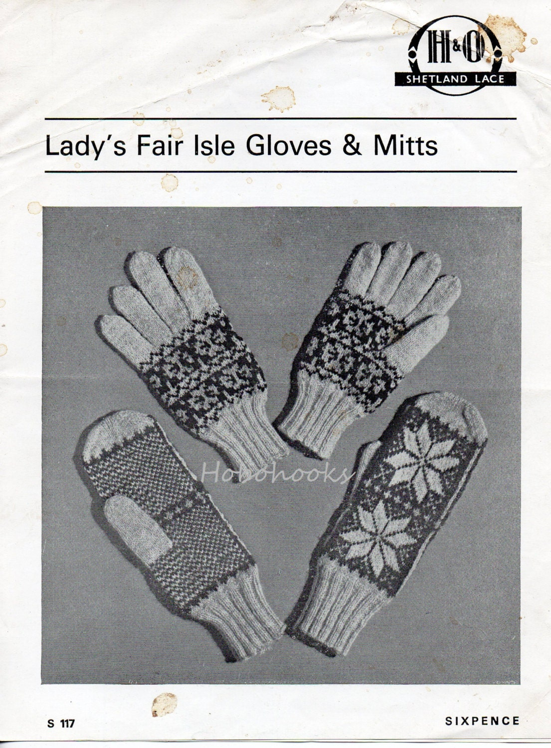 Womens Gloves Knitting Pattern Womens Fair Isle by Hobohooks