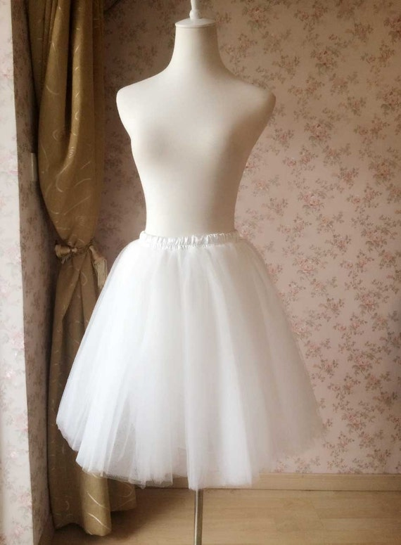 white tulle skirt knee length white by dressromantic