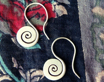 Labyrinth earrings, spiral earrings, silver earrings, .999 pure silver, small hook earrings, tribal earrings, hand forged silver earrings