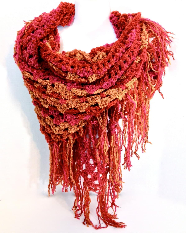 autumn fringed shawl wrap triangle shawl fall colors scarf