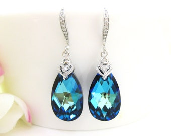 Bermuda Blue Earrings Swarovski Crystal Teadrop Earrings Wedding Jewelry Bridesmaid Gift Bridal Earrings Blue Earrings (E145)