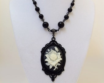 Rose Cameo Necklace Gothic Victorian Jewelry Cream Black