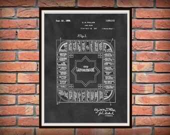 Patent 1924 Land Lords Game Predecessor to Monopoly - Art Print - Poster - Landlord Game Board Drawing - Wall Art - Game Room Wall Art