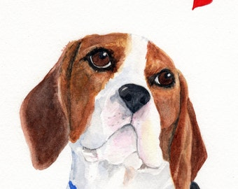 Valentine Beagle Dog Card.  Inside card reads: My heart is yours - - forever!  Happy Valentine's Day