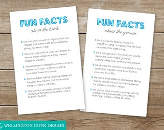 FUN FACTS Template Microsoft Word • 5 Things About Bride and Groom • Instant Download DIY Printable Digital File Download Wedding Engagement