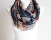 Lightweight Plaid Scarf, Woman's Scarf, Women's Scarves, Navy blue scarf.  Gift for Her