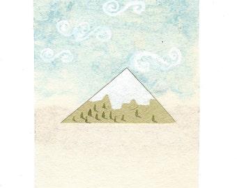Mountain.A miniature watercolour painting