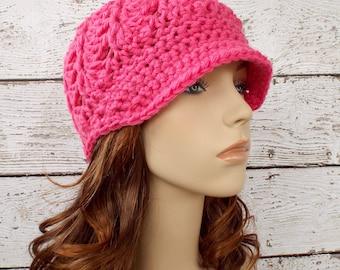 Crochet Hat Pink Womens Hat Pink Newsboy Hat - Pippa Swirl Hat in Fuchsia Pink Crochet Hat - Pink Beanie Pink Hat Womens Accessories