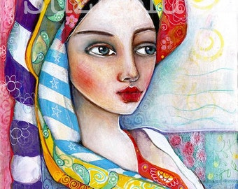 Print  of  Unleash Your Inner Gypsy Mixed Media Painting by Suzi Blu