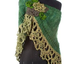 NIDO II- handknitted and crochet bridal poncho, cover shoulders, warm scarf, bridal poncho, twisted cowl,  wedding cover ups, bridal shrug