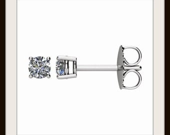 Diamond Stud Earrings in 14k Yellow or White Gold Four Prong Basket Settings, G-H Color I3 Clarity - Free Gift Wrapping