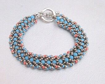 turquoise beaded bracelet pearl bead bracelet silver beadwork jewelry
