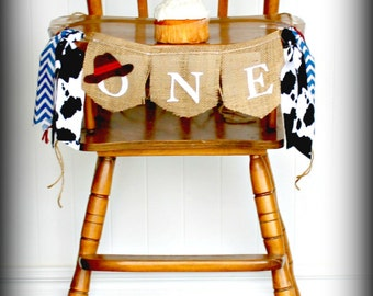 COWBOY Birthday Banner, first birthday, western theme,rodeo,garland,Photo Prop,Birthday AGE Highchair,Rustic Banner,farm, tractor,cowboy hat
