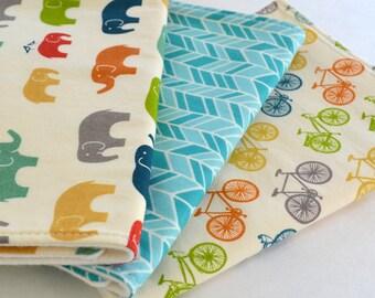 Set of 3 Organic Burp Cloths . Elephants, Bicycles & Aqua Herringbone . Baby Shower Gift