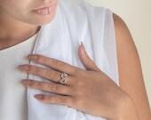 Reserved Item-Engagement Diamond Ring,14k White and rose gold diamond ring, Diamond heart ring, Free express shipping