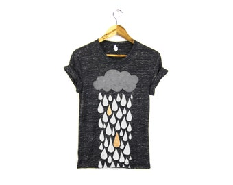 Rainstorm Tee - Boyfriend Fit Crew Neck Tshirt with Rolled Cuffs in Heather Black and White Marl & Metallic Gold - Women's S-3XL