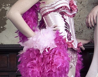 Detachable Burlesque Feather skirt bustle on a belt for corset costume