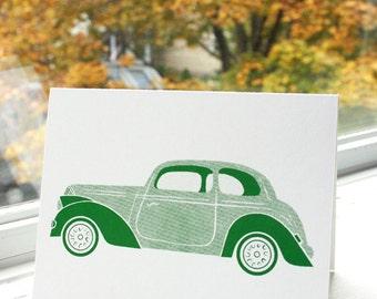 Silkscreen Greeting Cards, Transportation Theme - GREEN AUTO - Original Screenprinted Art