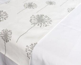 Grey Dandelion Table Runner, Choose Length, Country Wedding, Outdoor Table  Linen, Wedding