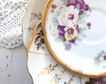 Vintage Shabby China Saucers. mismatched collection. Cottage romance. wall decor. table decor