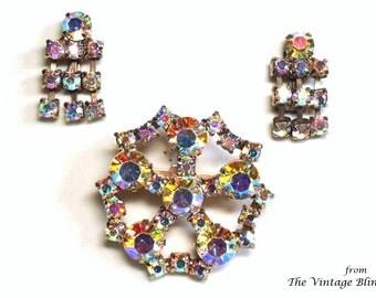 40's AB Crystal Brooch & Earrings in Swarovski Crystals Prong Set Gold Starburst Motif - Retro Rhinestone Demi Parure Costume Jewelry Sets