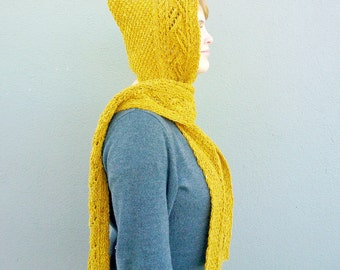 Hooded Scarf, Scarf with Hood, Mustard Yellow Scoodie, Scarf Hoodie, Asymetrical Hand Knitted Hood Scarf, Winter Fall Fashion Gift for her