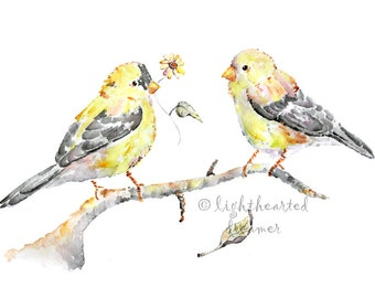 Goldfinch, Watercolor Print, yellow, Gift for Girlfriend, Gift for Wife, Anniversary Gift, Bird Watercolor, Bird Painting