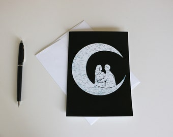 To The Moon And Back // Romantic Map Art 5x7 // Blank Greeting Card // Far Side of the Moon Map
