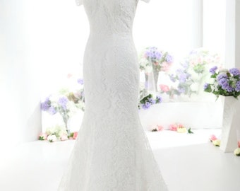 Modest Lace Wedding Dress with Sleeves Alencon French Lace Trumpet Style with Keyhole Back