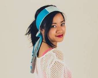 Two tone headband/belt made from upcycled vintage t-shirts in blue and grey
