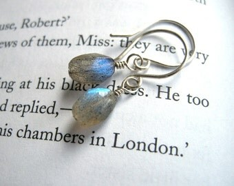 Dainty Labradorite Earrings Sterling Silver / Organic Small Gray Feminine Everyday Jewelry, Pebble Shaped Stones Blue Flash