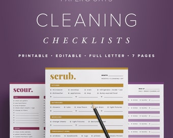 Cleaning Checklists – Editable, Daily, Weekly, Monthly, Seasonal Cleaning To-Do List, Home Management, 7 Pages  //  Household PDF Printables