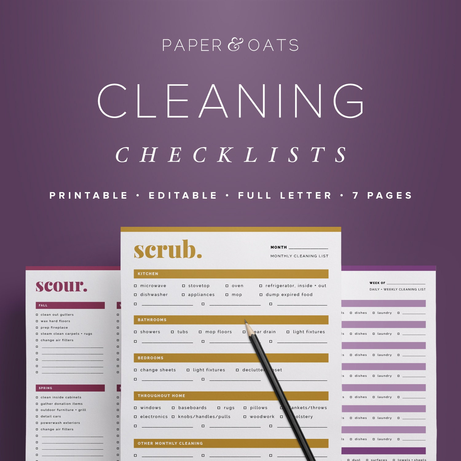 cleaning checklists editable daily weekly monthly