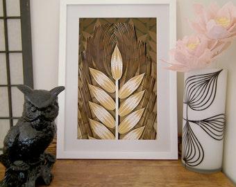 Wheat Paper Art Print, Quilled Wheat Sheaf, Hand Drawn Wheat Field, Wheat Grass print in shades of brown, autumn decor, tan to brown