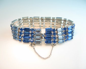Wide Rhinestone Bracelet. Sapphire Blue Baguettes. Two Tone Link. Vintage 1950s Hollywood Regency Glamour Jewelry.