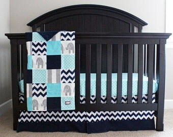 Aqua, Navy and Grey Baby Bedding - Elephant Crib Bedding