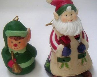 Vintage Bell Figurines/Ornaments,Christmas Elves,Porcelain. Chirstmas. FREE Shipping.