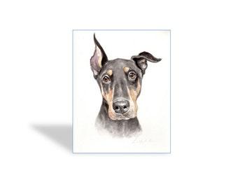 "11""x14"" Watercolor custom pet portrait, watercolor original painting dog cat animal pet lover painting handmade wall art gift"