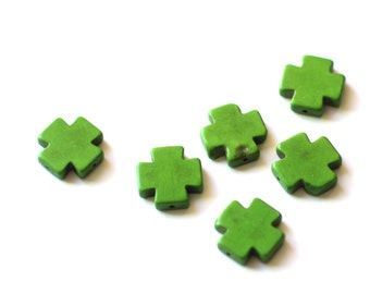 SALE 40 Green Cross Beads - Howlite - 20x20mm - 40pcs  - Ships IMMEDIATELY from California - B1125