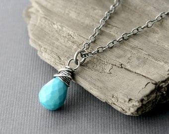 Turquoise Necklace Sterling Silver Briolette Gemstone Sleeping Beauty