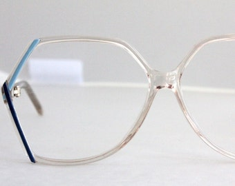 Vintage 80's Angular Blue Eyeglasses Frames