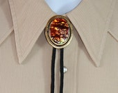 Bolo String Tie / Southwestern / Cowboy / Natural Stone / Abalone / Gold Silver